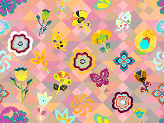 colorful pink whimsical floral pattern tile over geometric texture. modern design for textile, fabric, wallpaper, backgrounds, backdrops, templates and creative surface designs, the tile is seamless