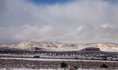 A winter snow on the road to park in southwest New Mexico.