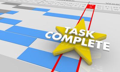 Task Complete Final Project Step Done Gantt Chart 3d Illustration