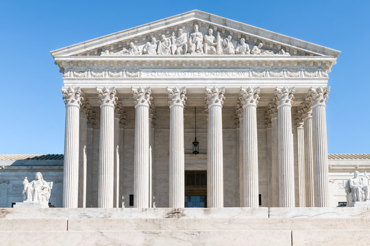 Washington DC, USA steps stairs of Supreme Court marble building entrance architecture on Capital capitol hill with columns pillars
