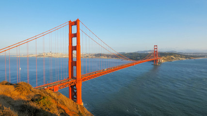 golden gate bridge in san francisco bathed in late afternoon sunshine