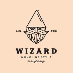 monoline wizard face logo icon vector template