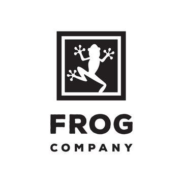 frog silhouette in wall logo icon vector template