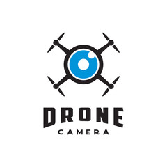Drone with camera lens logo icon vector template