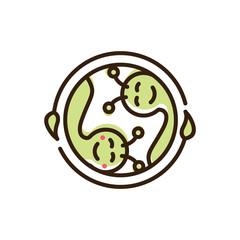 two green caterpillar logo icon vector template