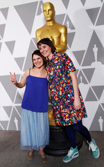 "Louise Bagnall and Nuria Gonzalez Blanco of Oscar-nominated animated short film ""Late Afternoon"" pose ahead of the 91st Academy Awards, in Beverly Hills"