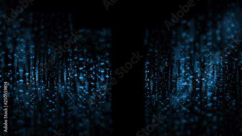 3D Rendering of abstract technology background. Wide screen wallpaper. Computer circuit dots and blur