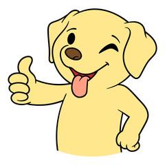 Cartoon Cute Dog Giving Thumbs Up
