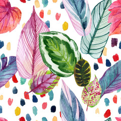 Papiers peints Empreintes Graphiques Colorful tropic summer background: watercolor leaves, abstract brushstrokes in retro 90s style