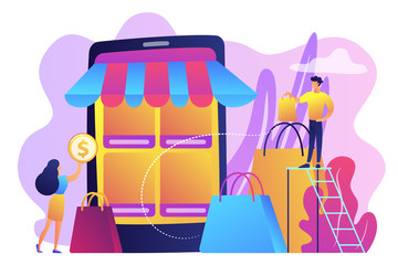 Mobile based marketplace concept vector illustration.
