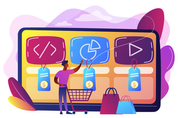 Digital service marketplace concept vector illustration.