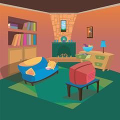 Clean TV Living Room at Home with Cartoon Style Background for Children Vector Ilustration Concept Ideas