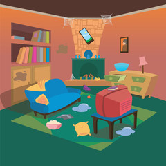Dirty TV Living Room at Home with Cartoon Style Background for Children Vector Ilustration Concept Ideas