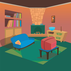 TV Living Room at Home with Cartoon Style Background for Children Vector Ilustration Concept Ideas