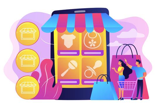 Niche service marketplace concept vector illustration.