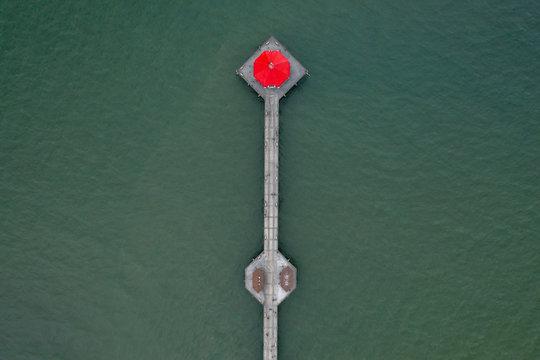 Aerial Shot of the Huntington Beach Pier in California