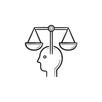 Head with law scales hand drawn outline doodle icon.
