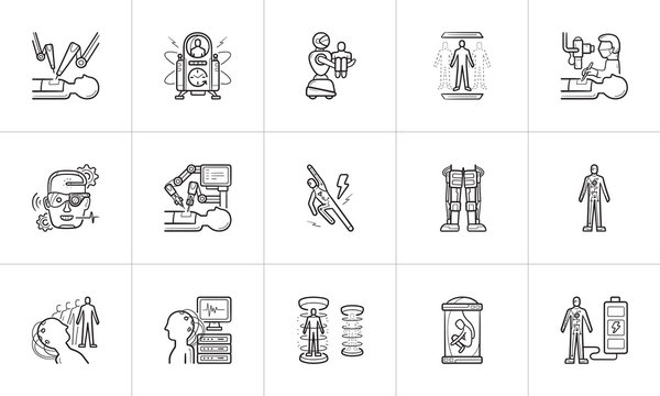 Future technology and futuristic medicine hand drawn outline doodle icon set.