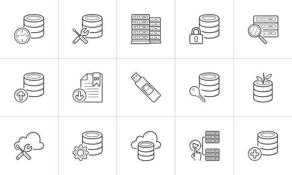 Database hand drawn outline doodle icon set.