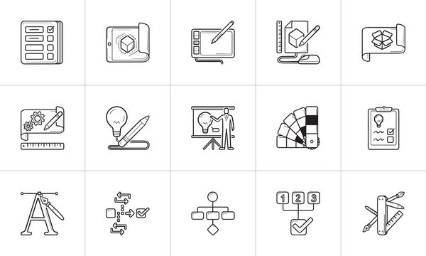 Project and graphic design hand drawn outline doodle icon set.