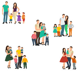 flat style, people without faces, family, parents and children, set