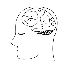 human head with brain black and white