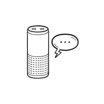 Smart speaker hand drawn outline doodle icon.