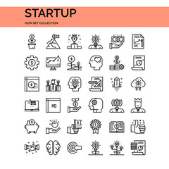 Startup Icons Set. UI Pixel Perfect Well-crafted Vector Thin Line Icons. The illustrations are a vector.