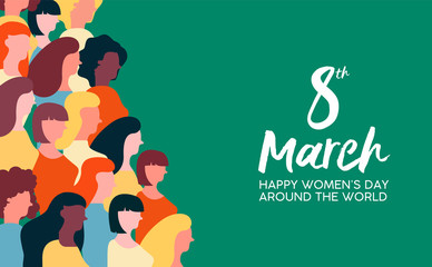 Womens Day 8th March card of women parade