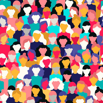 Diverse woman crowd pattern for women's day