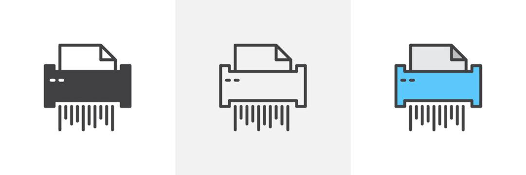 Paper shredder icon. Line, glyph and filled outline colorful version, Shredder machine outline and filled vector sign. Document destruction symbol, logo illustration. Different style icons set.