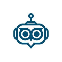 robot owl face logo icon vector template