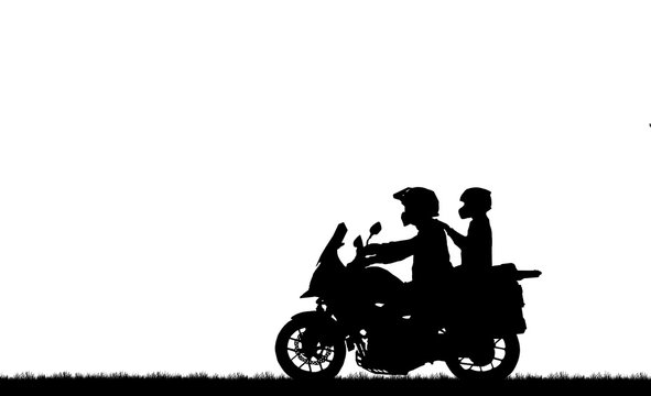 silhouette lover couple ride classic motorcycle on white background
