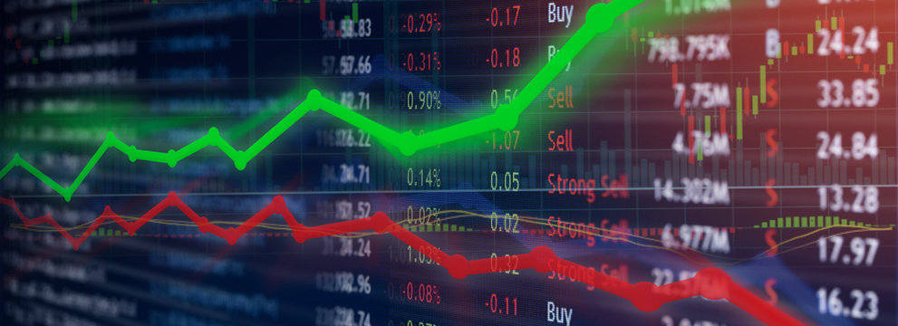 Stock market investment concept gain and profits with candlestick charts and numbers.