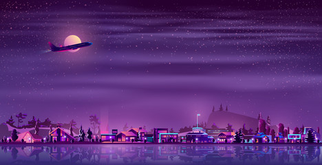 Vector background with neon fisher village at night. Ultraviolet light, illuminated huts,houses in rustic style. Building near of water, lake or river. Full moon with flying plane over the countryside