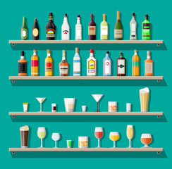 Alcohol drinks collection. Bottles with glasses. Vodka champagne wine whiskey beer brandy tequila cognac liquor vermouth gin rum absinthe sambuca cider bourbon. Vector illustration in flat style.