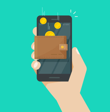 Online income money in electronic mobile phone wallet vector, flat coins transferring in wallet smartphone, concept of fund savings, cash earnings, financial success, digital wealth