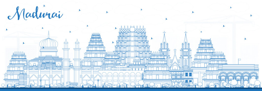 Outline Madurai India City Skyline with Blue Buildings.