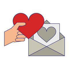 hand with heart and love letter envelope blue lines