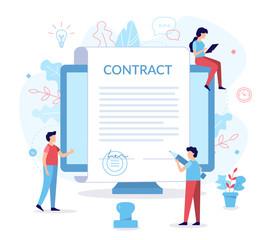 Fototapeta Signing contract flat illustration