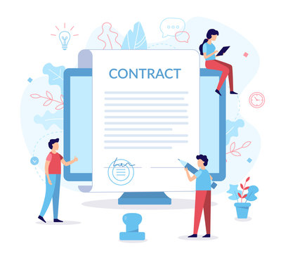 Signing contract flat illustration