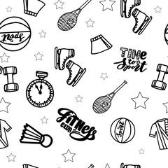 Seamless pattern with sport equipment, isolated on white.Vector illustration