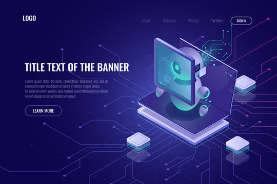 Smart smm concept isometric, setting of digital advertising parameters, robotic with laptop and graphics chart, screen with data, web page template