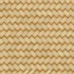 Fototapeta Reed mat with woven texture of crosshatched straws obraz