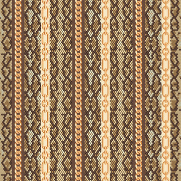 Gold chains snake skin seamless pattern. Vector illustration