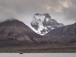 Dark mood of Arctic landscape in Svalbard, Spitsbergen, Norway.