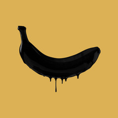 abstract image of black paint dripping on fruit