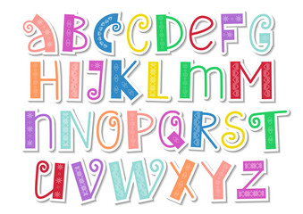 Decorative colorful latin alphabet with swirls and ornament in paper cut style on white