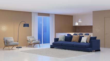 Modern house interior. Night. Evening lighting. 3D rendering.