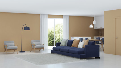 Modern house interior. Warm color in the interior. 3D rendering.